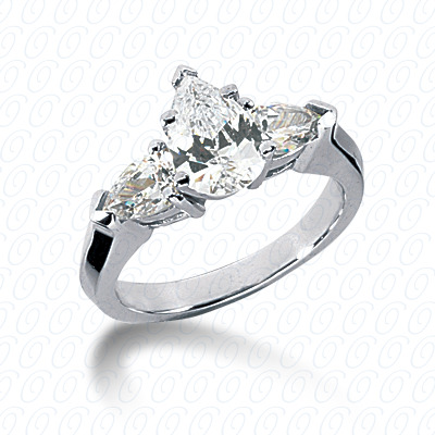 14KW Pear Side Stones Cut Diamond Unique Engagement Ring 0.60 CT. Semi Mount Style