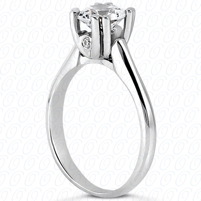14KP Round Cut Diamond Unique <br>Engagement Ring 0.03 CT. Solitaires Style