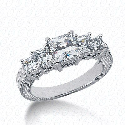 14KW Antique Cut Diamond Unique Engagement Ring 1.20 CT. Engagement Rings Style