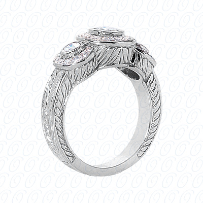 14KP Fancy Rings Cut Diamond Unique <br>Engagement Ring 0.86 CT. Fancy Rings Style