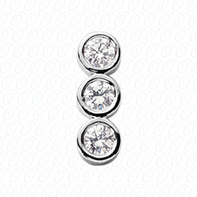 14KW Three Stones Cut Diamond Unique Engagement Ring 0.45 CT. Pendants Style