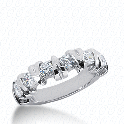 14KW Bar Setting Cut Diamond Unique Engagement Ring 0.90 CT. Round Style