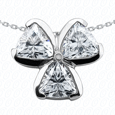14KW Three Stones Cut Diamond Unique Engagement Ring 1.05 CT. Pendants Style