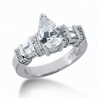 14KP Bq+Rd Cut Diamond Unique <br>Engagement Ring 0.53 CT. Combination Style