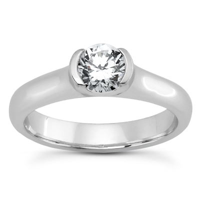 PLAT Round Cut Diamond Unique Engagement Ring