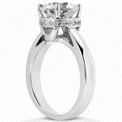 14KP Round Cut Diamond Unique <br>Engagement Ring 0.07 CT. Solitaires Style