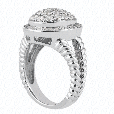 14KP Fancy Rings Cut Diamond Unique <br>Engagement Ring 0.67 CT. Fancy Rings Style