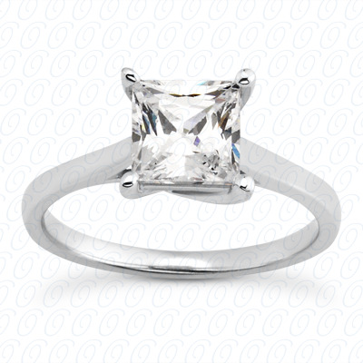 14KP Princess 0.00 CT. Solitaires
