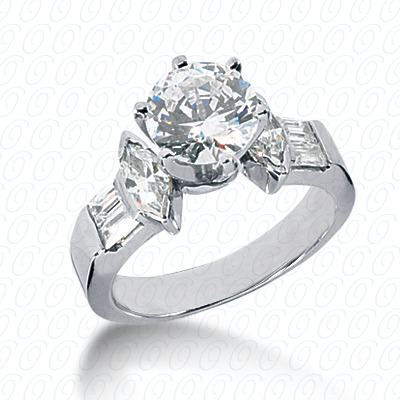 14KW Marquise Side Stones Cut Diamond Unique Engagement Ring 0.90 CT. Semi Mount Style