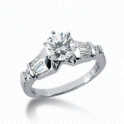 14KP Bq+Rd Cut Diamond Unique <br>Engagement Ring 0.54 CT. Combination Style