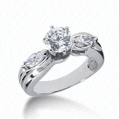 14KW Marquise Side Stones Cut Diamond Unique Engagement Ring 0.50 CT. Semi Mount Style