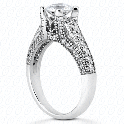 14KP Fancy Cut Diamond Unique Engagement Ring