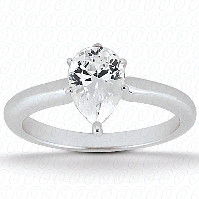 14KP Pear 0.00 CT. Solitaires