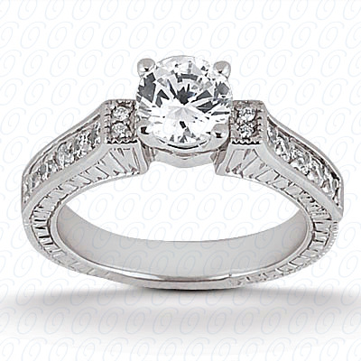 14KP Antique Cut Diamond Unique <br>Engagement Ring 0.33 CT. Engagement Sets Style
