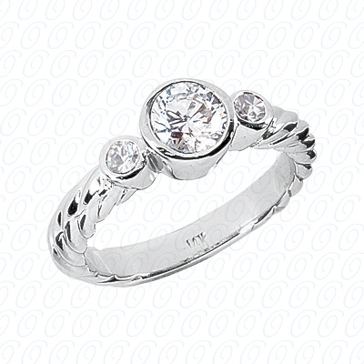 14KP Fancy Rings Cut Diamond Unique Engagement Ring