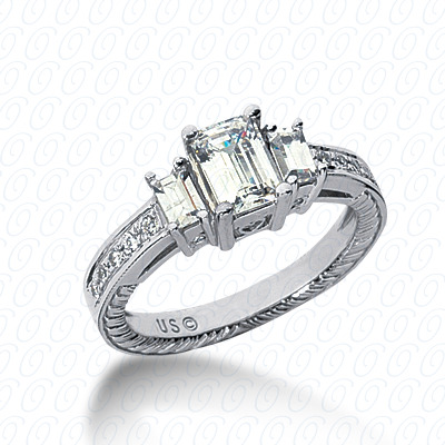 14KP Antique Cut Diamond Unique <br>Engagement Ring 0.58 CT. Engagement Rings Style