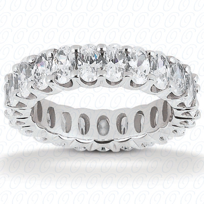 14KP Oval 5.00 CT. Eternity Wedding Bands