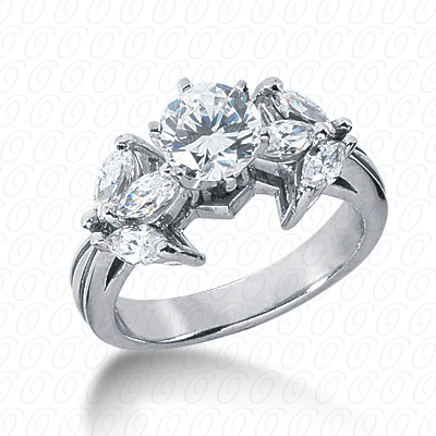 14KW Marquise Side Stones Cut Diamond Unique Engagement Ring 1.20 CT. Semi Mount Style
