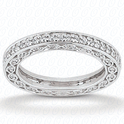 14KP  Round Cut Diamond Unique <br>Engagement Ring 0.57 CT. Eternity Wedding Bands Style