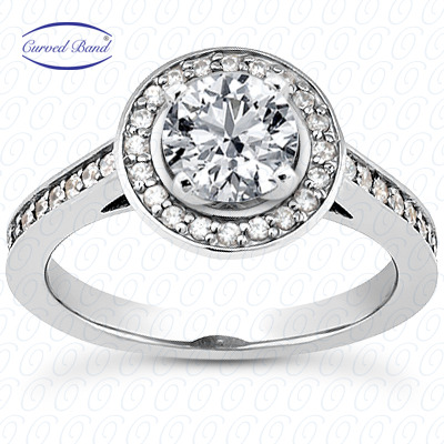 14KP Halo Petite  Cut Diamond Unique <br>Engagement Ring 0.49 CT. Petite Style