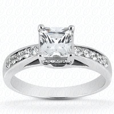 14KP Emerald Cut Diamond Unique Engagement Ring 0.00 CT. Solitaires Style