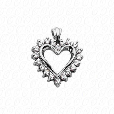 14KW Hearts Cut Diamond Unique Engagement Ring 0.40 CT. Pendants Style