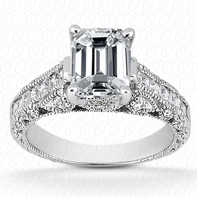 14KP Antique Cut Diamond Unique <br>Engagement Ring 0.51 CT. Engagement Rings Style