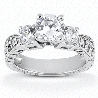 14KP Antique Cut Diamond Unique <br>Engagement Ring 0.48 CT. Engagement Rings Style
