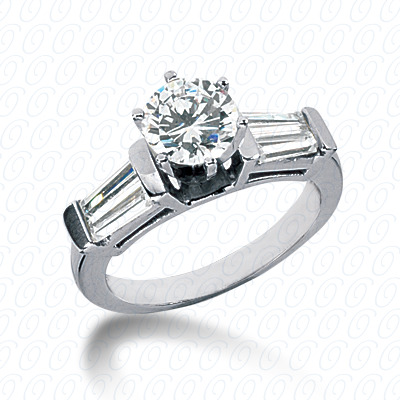 14KW Baguette Bar Cut Diamond Unique Engagement Ring 1.00 CT. Bq Side Stones  Style