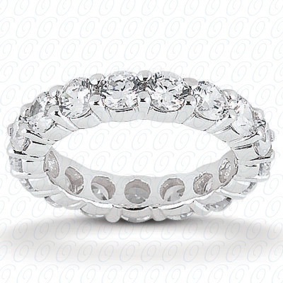 14KW  Round Cut Diamond Unique Engagement Ring 0.53 CT. Eternity Wedding Bands Style