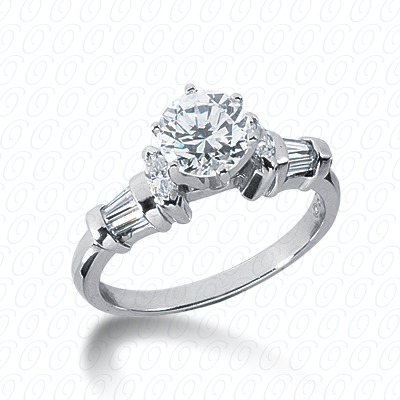 14KW Marquise Side Stones Cut Diamond Unique Engagement Ring 0.42 CT. Semi Mount Style
