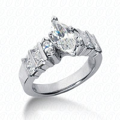14KW Marquise Side Stones Cut Diamond Unique Engagement Ring 1.10 CT. Semi Mount Style