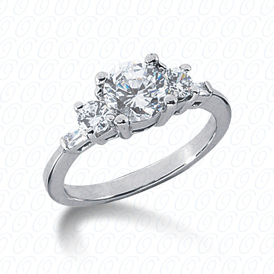 14KP Bq+Rd Cut Diamond Unique <br>Engagement Ring 0.38 CT. Combination Style