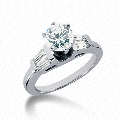 14KW Baguette Bar Cut Diamond Unique Engagement Ring 0.32 CT. Bq Side Stones  Style