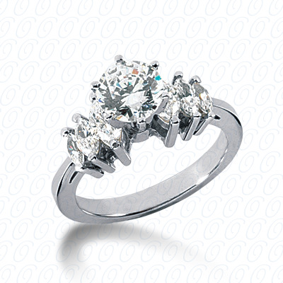 14KW Marquise Side Stones Cut Diamond Unique Engagement Ring 0.82 CT. Semi Mount Style