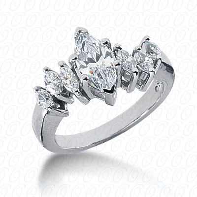 14KW Marquise Side Stones Cut Diamond Unique Engagement Ring 0.34 CT. Semi Mount Style