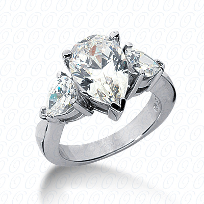 14KW Pear Side Stones Cut Diamond Unique Engagement Ring 0.00 CT. Semi Mount Style