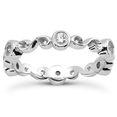 14KP  Round Cut Diamond Unique <br>Engagement Ring 0.18 CT. Eternity Wedding Bands Style