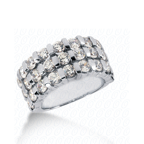 14KW Bar Setting Cut Diamond Unique Engagement Ring 4.05 CT. Round Style