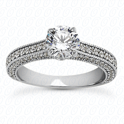 14KP Antique Cut Diamond Unique <br>Engagement Ring 0.61 CT. Engagement Sets Style