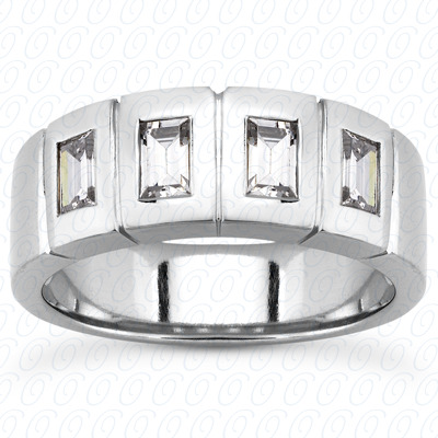 14KP Baguette 1.00 CT. Wedding Band Sets