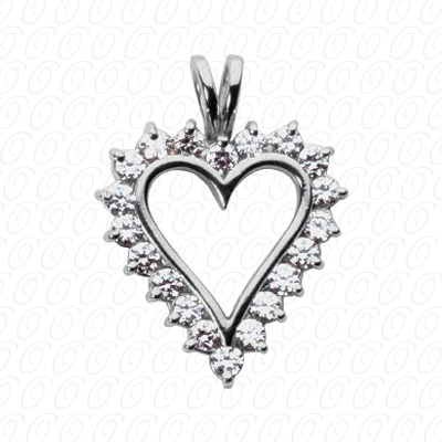 14KW Hearts Cut Diamond Unique Engagement Ring 0.30 CT. Pendants Style