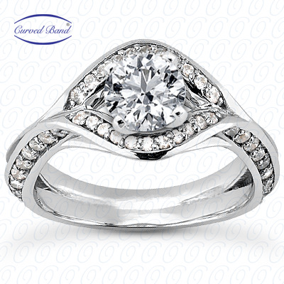 14KP Halo Petite  Cut Diamond Unique <br>Engagement Ring 0.61 CT. Petite Style