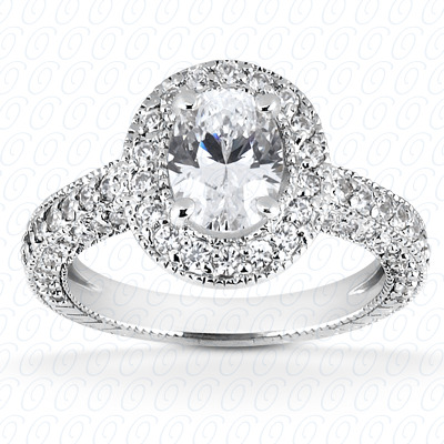 0.92 CT. 14 Karat Pink Gold Oval Cut Diamond <br>Engagement Ring HALO Style