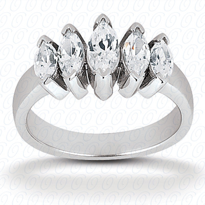14KP Marquise 0.98 CT. Wedding Bands