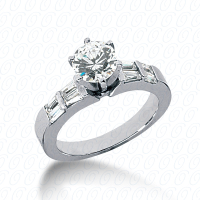 14KW Baguette Bar Cut Diamond Unique Engagement Ring 0.44 CT. Bq Side Stones  Style