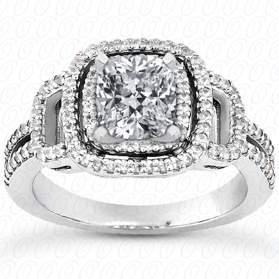 14KP Halo Petite  Cut Diamond Unique <br>Engagement Ring 0.41 CT. Petite Style