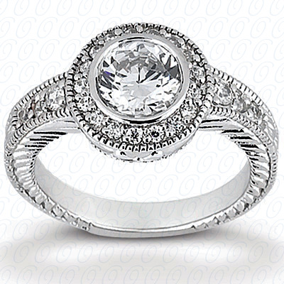 14KP Antique Cut Diamond Unique <br>Engagement Ring 0.63 CT. Engagement Rings Style