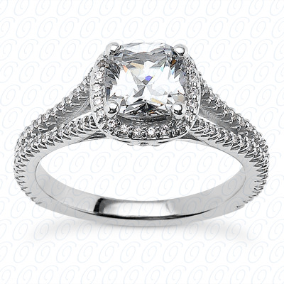 14KP Cushion Cut Diamond Unique <br>Engagement Ring 0.23 CT. Solitaires Style