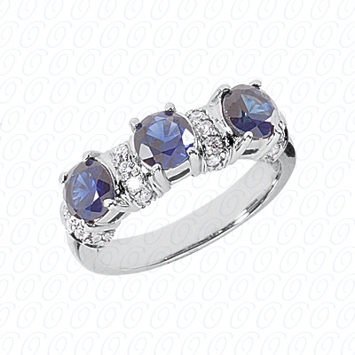 14KW Combination Cut Diamond Unique Engagement Ring 1.70 CT. Color Stone Rings Style